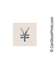 Yen Symbol. Grunge Style Icon.