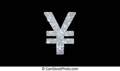 Yen Symbol Icon Sparkling Shining White Blinking Particles Diamond Glitter Loop Light 4K Animation Alpha Channel.