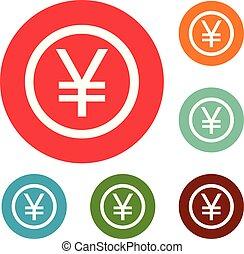 Yen symbol icons circle set vector