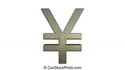 Rotating Yen Symbol Gold, 3D Looped Animation, Golden Japanese Yen Sign Isolated On White Background, The Official Currency Of Japan - DCi 4K