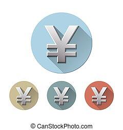 yen symbol - Set of Yen symbol on colored circle flat icons,...