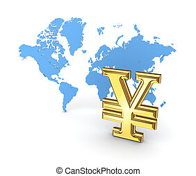 yen symbool, en, kaart, van, de, world.
