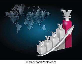yen, valuta, grafiek, tabel, illustratie, ontwerp