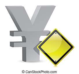 yen warning yellow sign