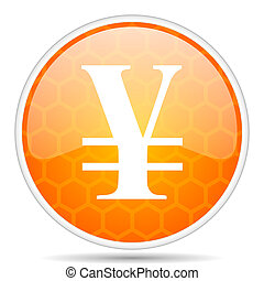 Yen web icon. Round orange glossy internet button for webdesign.