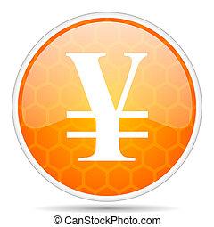 Yen web icon. Round orange glossy internet button for webdesign.