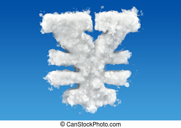 Yen, yuan symbol from clouds in the sky. 3D rendering