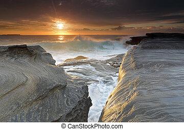 yena, australie, levers de soleil