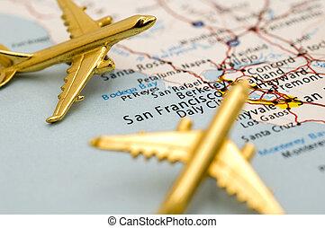 yendo, california, dos, aviones