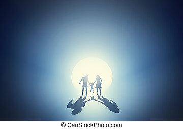 yendo, concepto, familia, luz, profundo, hacia, afuera,...
