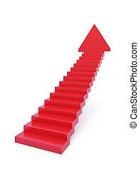 yendo, escaleras, hacia arriba