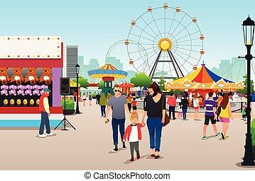 yendo, parque, diversión, ilustración, gente