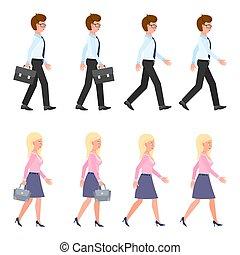 yendo, rápido, secuencia, illustration., gente, delantero, caricatura, lento, joven, adulto, mudanza, ambulante, posturas, hombre, carácter, vector, mujer, conjunto