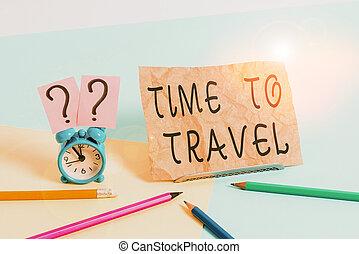 yendo, travel., foto, escritura, tiempo, alarma, lugar, mini...