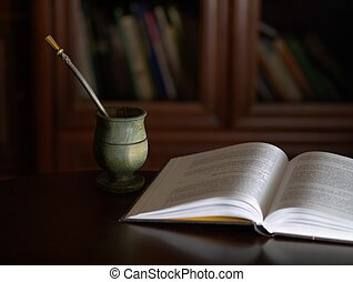 Yerba mate and book for relaxation