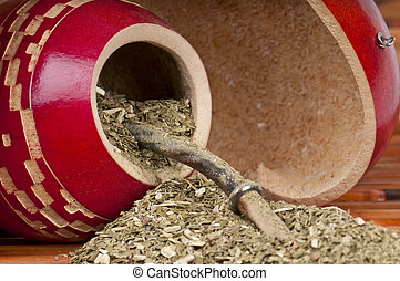 Yerba Mate Spills - Close up of calabash cup with spill of...