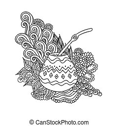 Yerba mate tea in gourd and straw, and floral wave doodle pattern. Hand drawn black and white illustration in vector