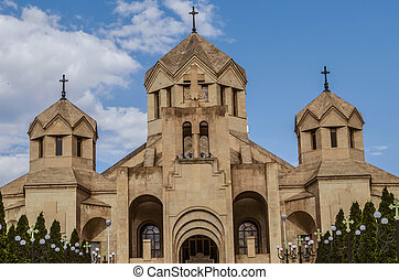 View of the main entrance of the Cathedral of Gregory the Illuminator from Tigran Mets street in the capital of Armenia Yerevan