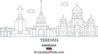 Yerevan City Skyline, Armenia - Yerevan Linear City Skyline,...