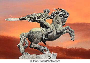 Yerevan, monument David of Sasun - hero of armenian epos -...