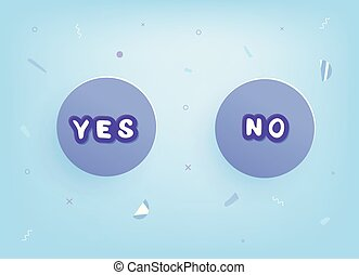 Yes and No badges. Lettreing with decoration. Vector illustration.