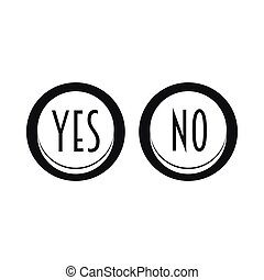 Yes and No button icon, simple style