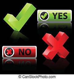 yes and no button - illustration of yes and no button on...