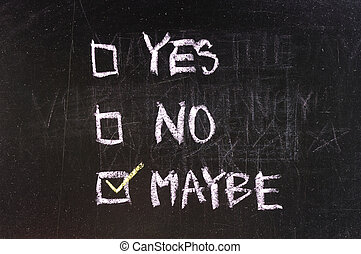 yes and no check boxes sketched with white chalk on blackboard with eraser smudges