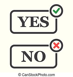 Yes and No check marks green and red. Vector. Pixel perfect vector graphics. EPS 8