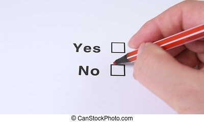 Yes And No Checkbox Marking. - Yes And No, No choose