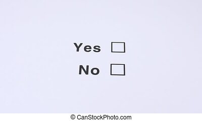 Yes And No Checkbox Marking.