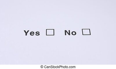 Yes And No Checkbox Marking. - Yes And No, Yes choose