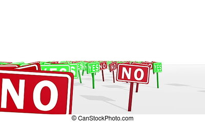 """""""Yes and No Concept in Traffic Signs"""" - """"A dolly-in 3d..."""