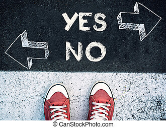 Yes and no dilemma - Student standing above the yes and no...