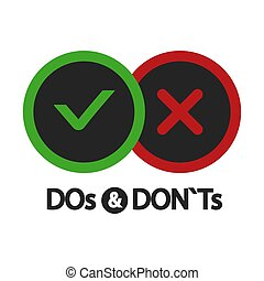 Yes and no, dos and donts, positive and negative icons ...