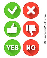 Collection of different yes and no buttons. Round icons with long shadows