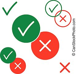 Yes and no, positive and negative vector icons isolated on white background illustration. Green and red color for your design.