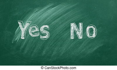 YES and NO text written in chalk on a green blackboard. Your choice concept.