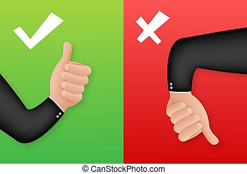 Yes and No thumb up. Feedback concept. Positive feedback concept. Choice button icon. Vector stock illustration.