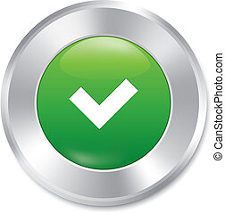 Yes button. Accept sticker. Correct icon. Isolated