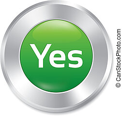 Yes button. Vector accept green round sticker.