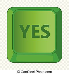 Yes green button icon, cartoon style