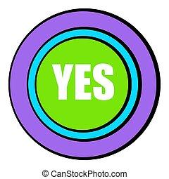 Yes green button icon cartoon