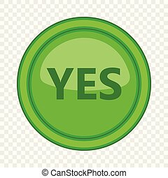 Yes green circle button icon, cartoon style