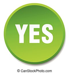 yes green round flat isolated push button