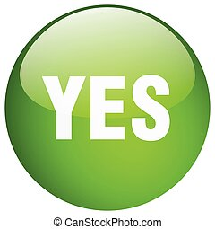 yes green round gel isolated push button