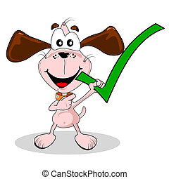 Yes green tick being held by a cartoon dog