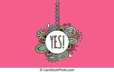 Yes Hanging Sign Hand Drawn Vector