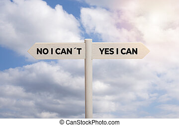 Yes I can concept. Wooden sign post with text isolated on sky background