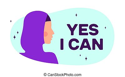 Yes I Can. Modern flat character. Silhouette woman
